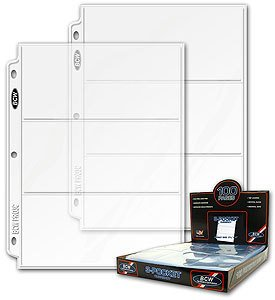 BCW Currency Storage Sheets-Box of 100 3-Pocket Pages