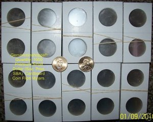1000 NEW 2x2 Paper MYLAR COIN FLIPS (SAC, SBA, PRES)