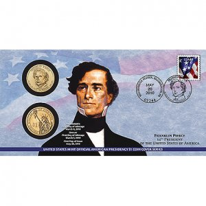 Franklin Pierce 2010 One Dollar Pres. Coin Cover P34