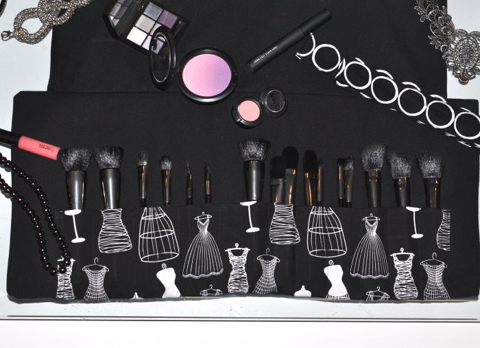Makeup Brush Holder Roll ~ CLASSY BLACK W DRESS XL Size