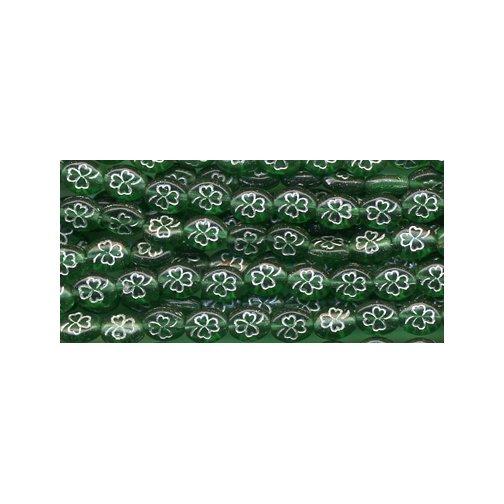 25 Irish Green w/Silver Outline Shamrock Czech Glass Beads