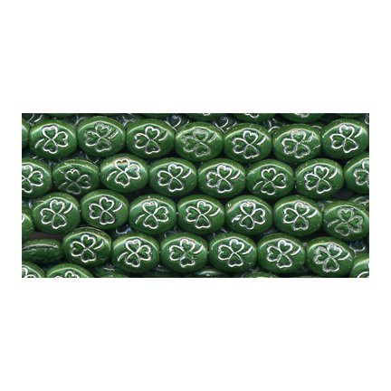 25 St Patrick's Day Green w Silver Shamrock Glass Beads Last One Opaque OLD STOCK