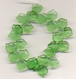 Peridot Green Czech Glass Leaves Beads Vintage Style