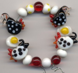 Retro Kitchen Chicken Rooster HEN Eggs LAMPWORK GLASS BEADS