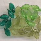 Green, Emerald Green, Olive, Olive MattGlass Leaves Beads
