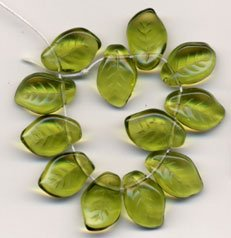 25 OLIVE GREEN CZECH GLASS LEAVES Beads