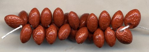 Almonds Nut Glass Fruit Beads Great for Carmen Miranda 20 Pcs