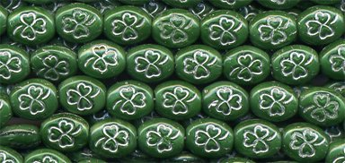 St Patricks Green w Silver Shamrock Glass Beads Opaque