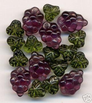 Purple Grapes Beads + Beautiful Green Fruit Leaf Inlay Glass Beads