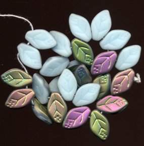 Robin Egg Blue AB Czech Leaf Glass Beads Leaves