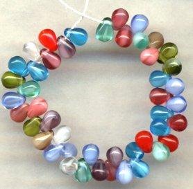 Marrakesh Tear Drop Czech Glass Beads Great Color Mix