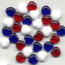 Patriotic RED WHITE and BLUE Glass Heart Beads 30 pcs