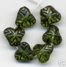 15 Green Fruit Leaves w Dk Vein Inlay Czech Glass Beads