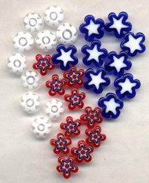 Patriotic Red White and Blue Star Shape Glass Beads