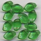 Green Glass Czech Leaf Beads 20 Pieces Transparent