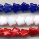 8mm Red White and Blue Glass Star Beads Patriotic 4th of July
