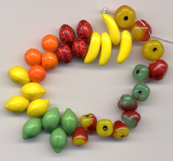 Glass Fruit Beads Mix Great for Carmen Miranda