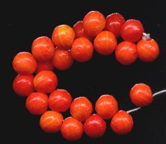 12 Pcs Shades of Tangerine Orange Fruit CZ Glass Beads NEW!