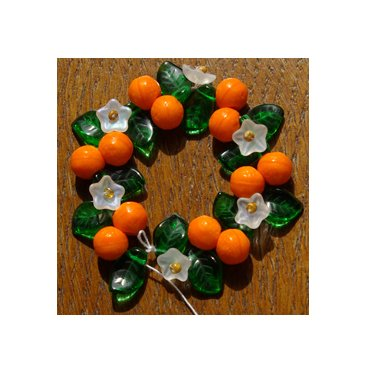 Orange Blossom Mix Fruit, Flower and Leaf Glass Beads