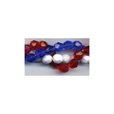 Patriotic Red White Blue Firepolish Beads Fire Polish 4th of July Beads