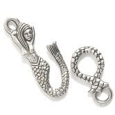 Silver Pewter Mermaid Hook and Eye Clasp 2 Sets