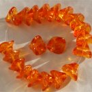 3 Petal Orange Glass Lily Trumpet Flower Beads 12pcs
