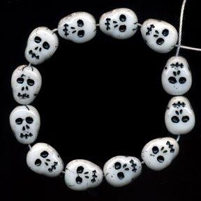 25 Skull Skeleton Beads Czech Glass Awesome