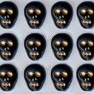 12 Black Skull Beads Glass Czech Day of the Dead Halloween Fun