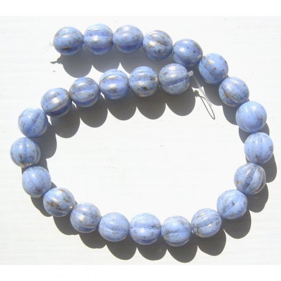 Fluted Melon Rounds 8mm Opaque Periwinkle Blue Luster Glass Beads