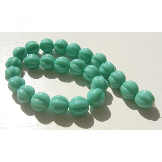 Melon Rounds 8mm Opaque Green Turquoise Glass Beads