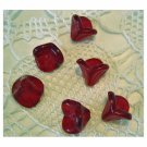 Red Czech 3 Petal Glass Trumpet Flower Beads
