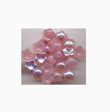Pink Opal AB Czech Star Petal Glass Flower Beads 20 Pcs
