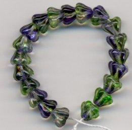 Blue and Green Swirl Glass Flower Beads 25 Mini Baby Bells