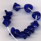 Blue Czech 3 Petal Flower Shape Glass Beads