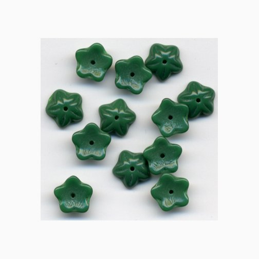 10mm Vintage Green Opaque Cup Glass Flower Beads