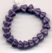 Purple Lilac Opaque Bell Glass Flower Beads 4x6mm