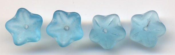 Aqua Matte Czech Star Petal Glass Flower Beads 20 pcs