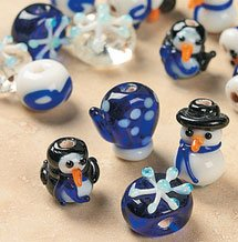 Snowman Snowflake Winter Christmas Glass Lampwork Beads