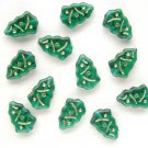 Christmas Tree Beads Emerald Green w Gold Inlay Glass