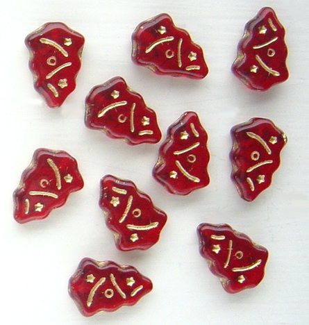 Christmas Tree Beads  Siam Red w Gold Inlay Glass