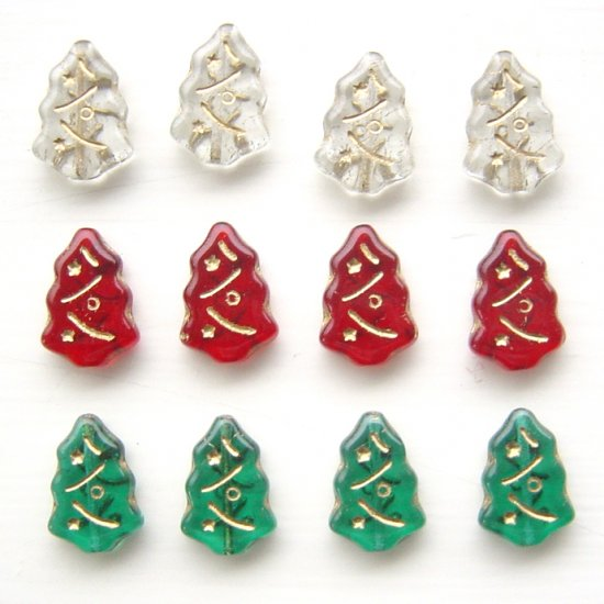 Glass Christmas Tree Beads  Glass Red Green and Crystal