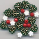 Christmas Holly Berry Bead Mix Green Leaves and Red Berry Beads