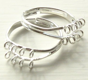 Silver Beading Ring with Loops Great for Posie or Garden Flower Rings