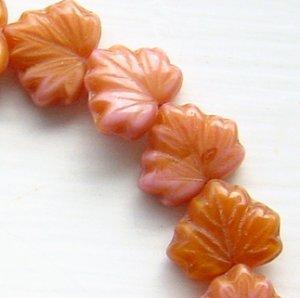 Czech Leaf Beads Carnelian Color