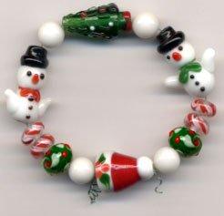 Christmas Holiday Lampwork Beads Santa Stocking Hat, Christmas Tree and Snowman