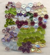 Lilac Garden Glass Flower Bead Mix