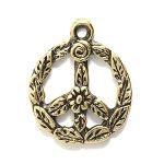 Flower Power! Peace Sign Gold 15mm Awesome Charm