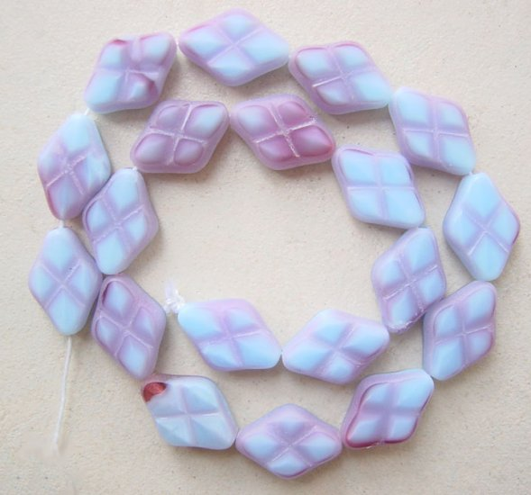 Lilac Deep Raspberry Mauve Diamond Shape with Inlay Glass Beads