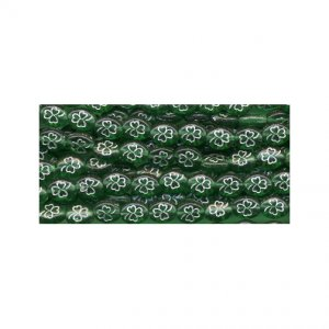 Irish Green w/Silver Outline Shamrock Glass Beads St Patrick's Day 100 Pieces