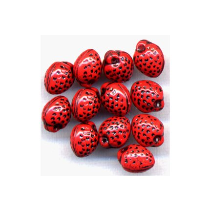 Red Strawberry Beads Czech Glass Fruit Beads